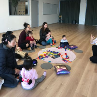 children and parents in a toddler class