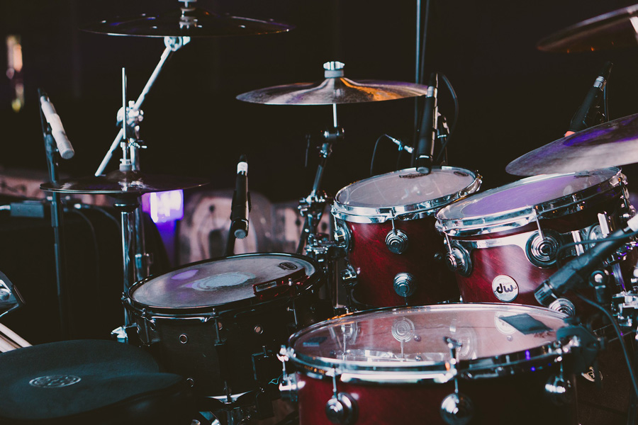 close up of a drum set
